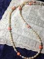 珊瑚と淡水パールのネックレス